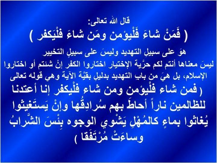 فمن شاء فليؤمن ومن شاء فليكفر Holy Quran Arabic Calligraphy Islam