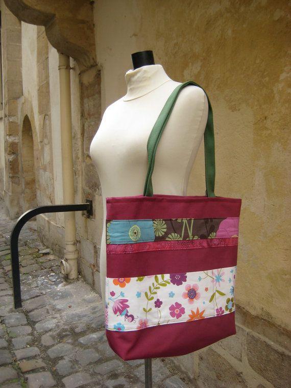 Sac Ruban carré porté épaule framboise à fleurs par FeeHome sur Etsy, €49,00