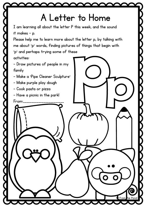 Printable Worksheets letter p worksheets for pre-k : FREE Letter of the week family letter. Easy way to get parents ...