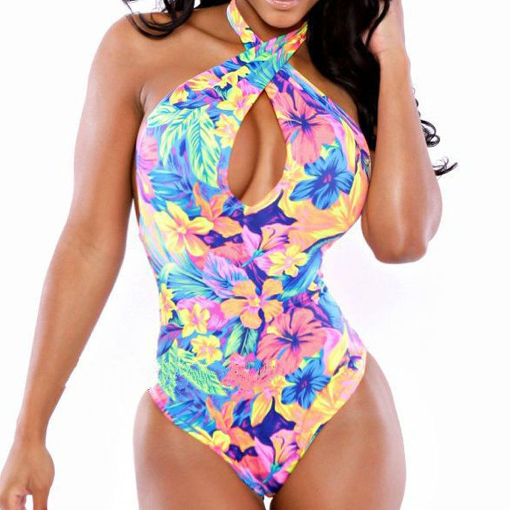 New Sexy Floral Print Vintage Swimwear Halter Backless Bathing Suit for Women Swimsuit-M #vintageswimwear