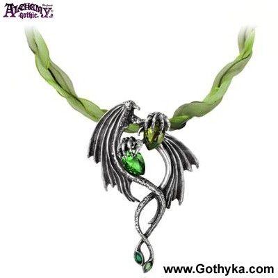 Alchemy Gothic P676 Collier Gothique Alchemy Gothic Emerald Dragon - Boutique Gothique Romantique Gothyka