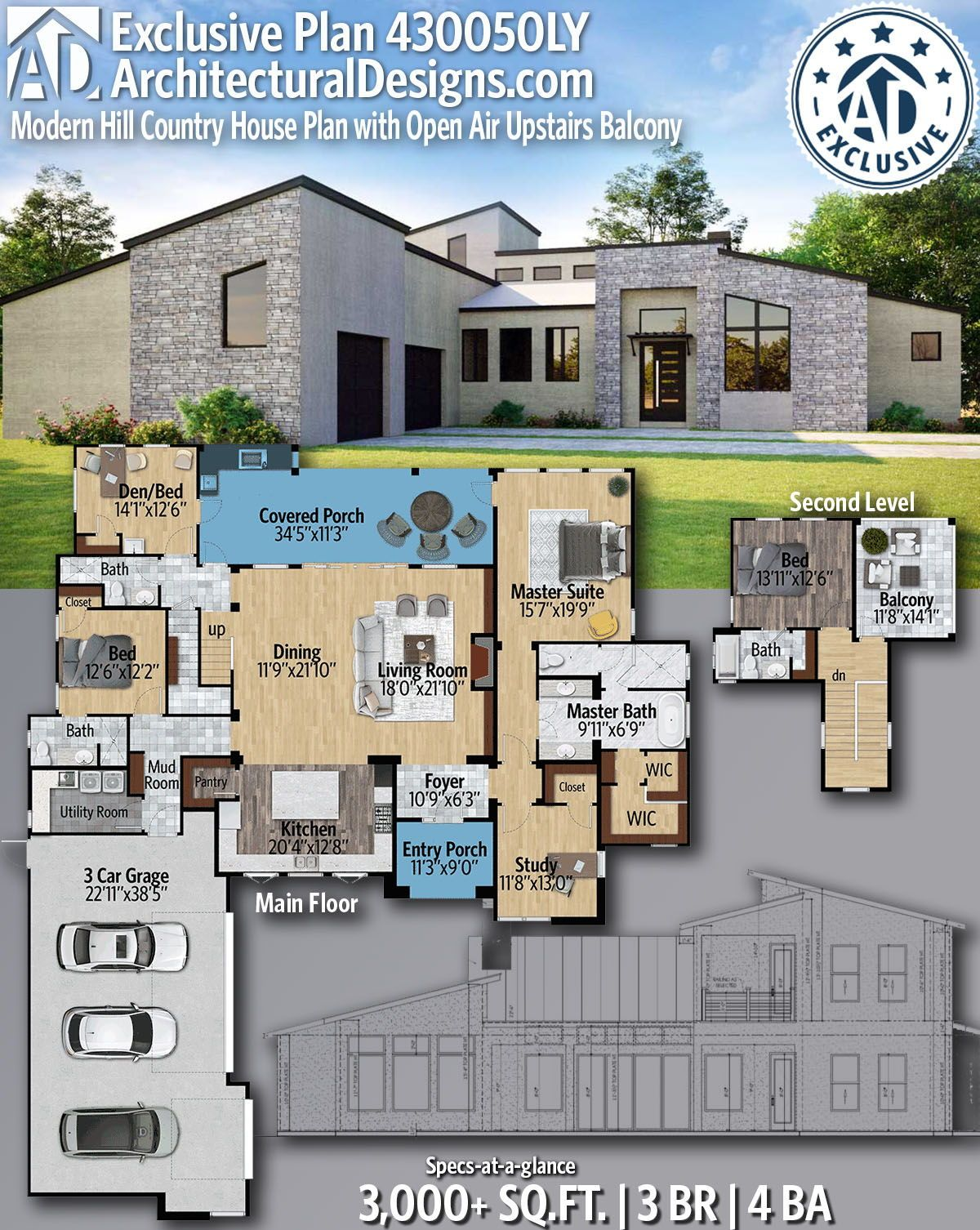 Plan 430050ly Modern Hill Country House Plan With Open Air Upstairs Balcony Country House Plan House Plans Country House Plans