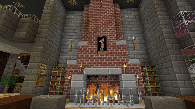 I am going to need a fireplace in my library #Minecraft ...