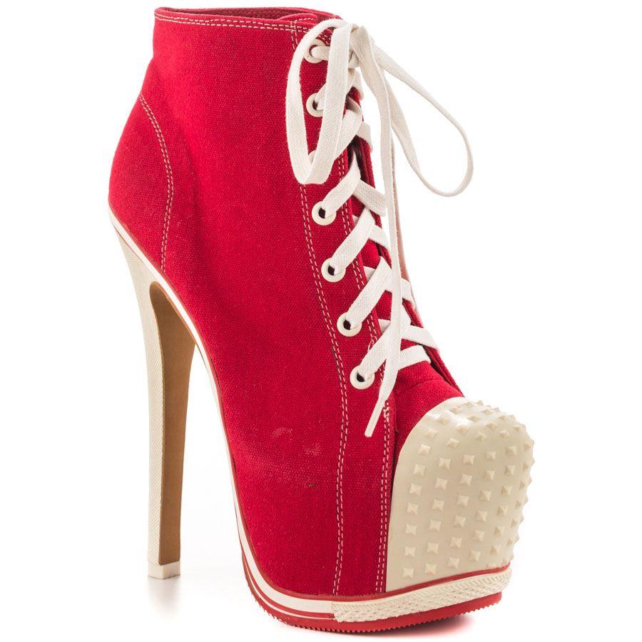 Salute - Red Ca | High heel, Red sneakers and Sneaker heels