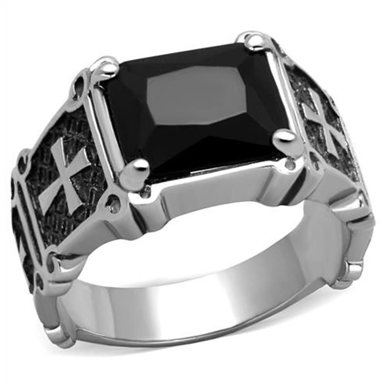 Classic Cross Men\'s Ring Stainless Steel With Square Black Stone ...