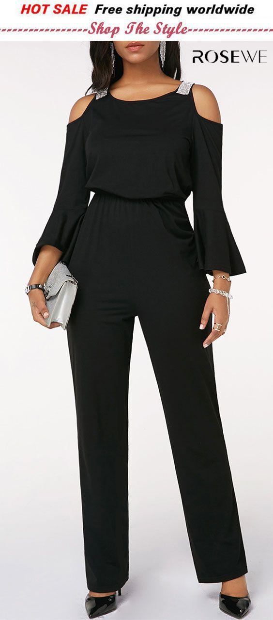 50f230ff203 Cold Shoulder Flare Sleeve Cinched Waist Black Jumpsuit. rosewe jumpsuit.