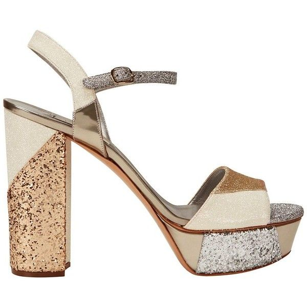 1982f3099da9 Casadei Colorblock Glitter Platform ( 389) ❤ liked on Polyvore featuring  shoes