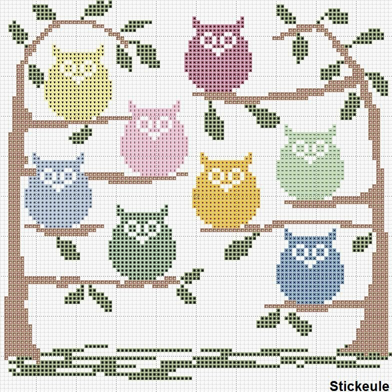 fr%C3%BChlingseulen2.jpg 784×784 pixels | free charts cross stitch ...