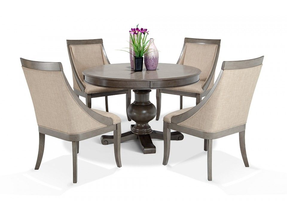Gatsby Round 5 Piece Dining Set With Swoop Chairs 5 Piece Dining