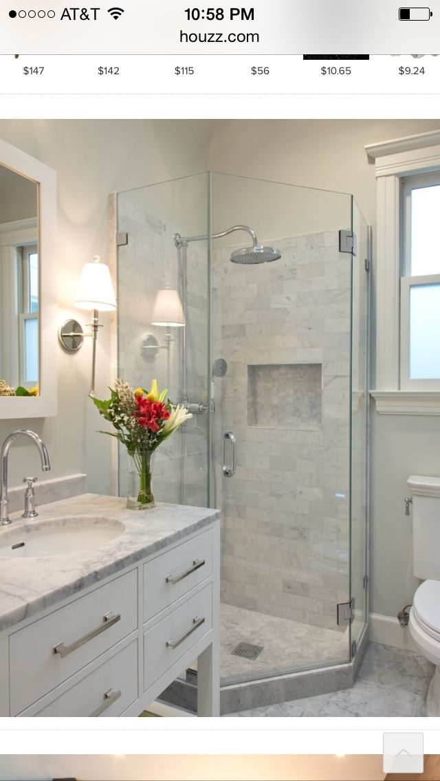 Another great small bath Bathrooms remodel Pinterest Bath