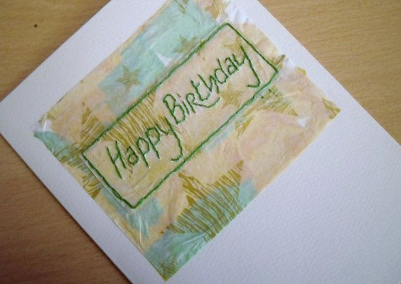 Hand Stitched Card Birthday Card  Green and Yellow