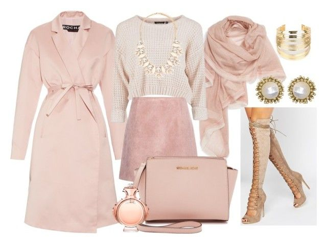 """""""ALL Winter Pink"""" by irina-mologoko on Polyvore featuring Rochas, WithChic, La Fiorentina, Daisy Street, Acne Studios, MICHAEL Michael Kors, Forever 21, Kendra Scott, Paco Rabanne and women's clothing"""