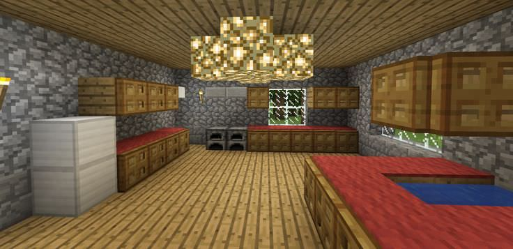 Minecraft Kitchen Cabinet Design Trapdoors On Blocks Carpet As Counter Tops Minecraft Kitchen Ideas Simple