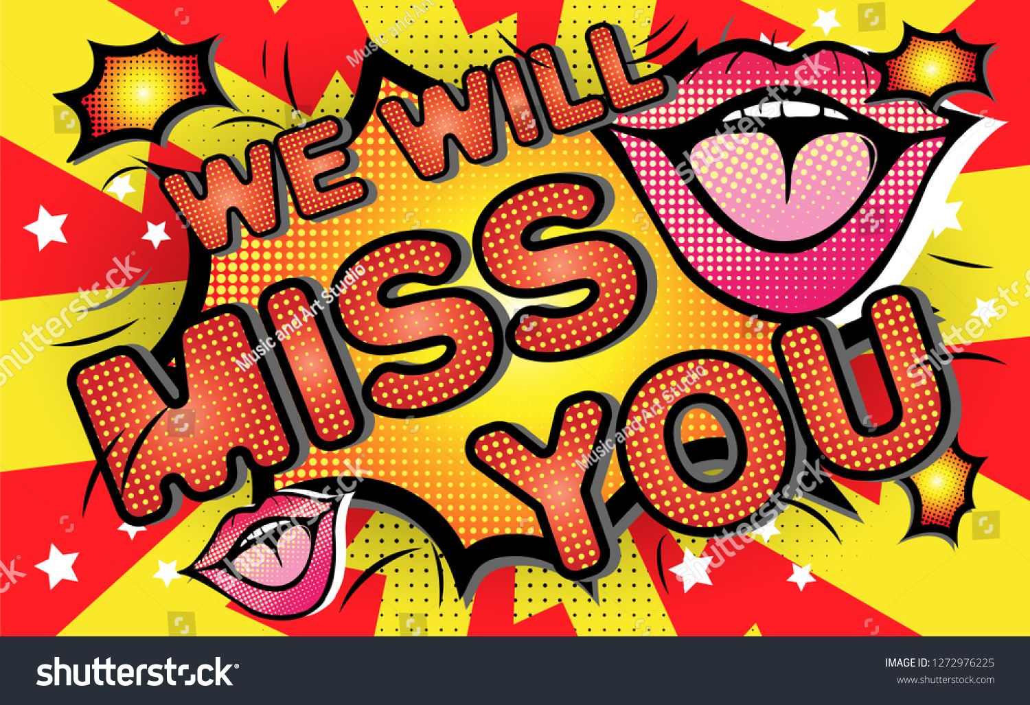 Farewell Party Template We Will Miss You Text Design Pop Art Comic Style Colorful Background For T Shirt Print Ban Pop Art Comic Banner Printing Tshirt Print