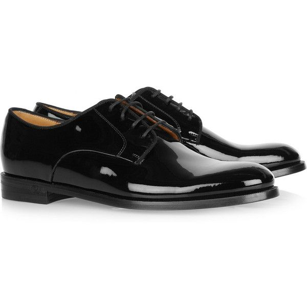 Gucci Patent-leather brogues ($595) ❤ liked on Polyvore