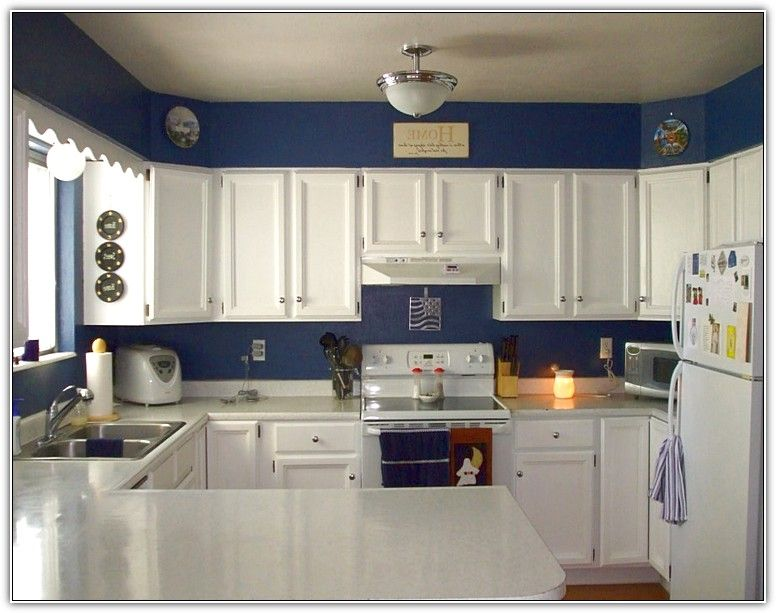 Best Cream Kitchen Cabinets With Blue Walls Blue Kitchen 400 x 300