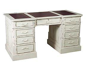 Scrivania In Legno Bianco : Scrivania in legno e pelle oxford bianco cm shabby
