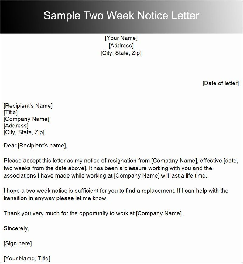 Sample Of Two Weeks Notice Letter Lovely Two Weeks Notice