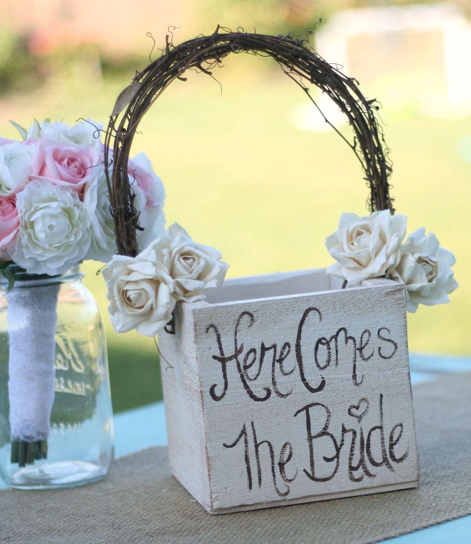 Shabby Chic Flower Girl Basket Rustic Wedding Decor Here