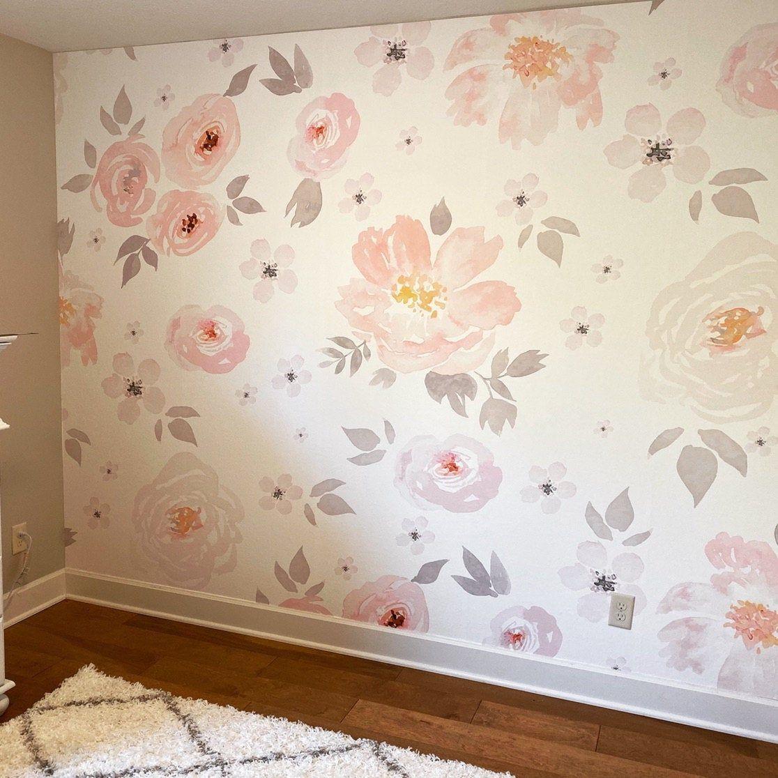 Amara Floral Wallpaper Mural Watercolor Floral Traditional