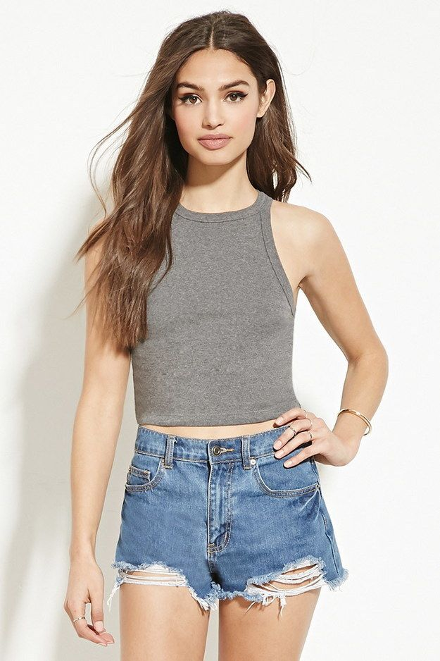 ee3852468e9 This high-neck cropped tank ($5.90): | 38 Highly Rated Forever 21 Items  That People Actually Swear By