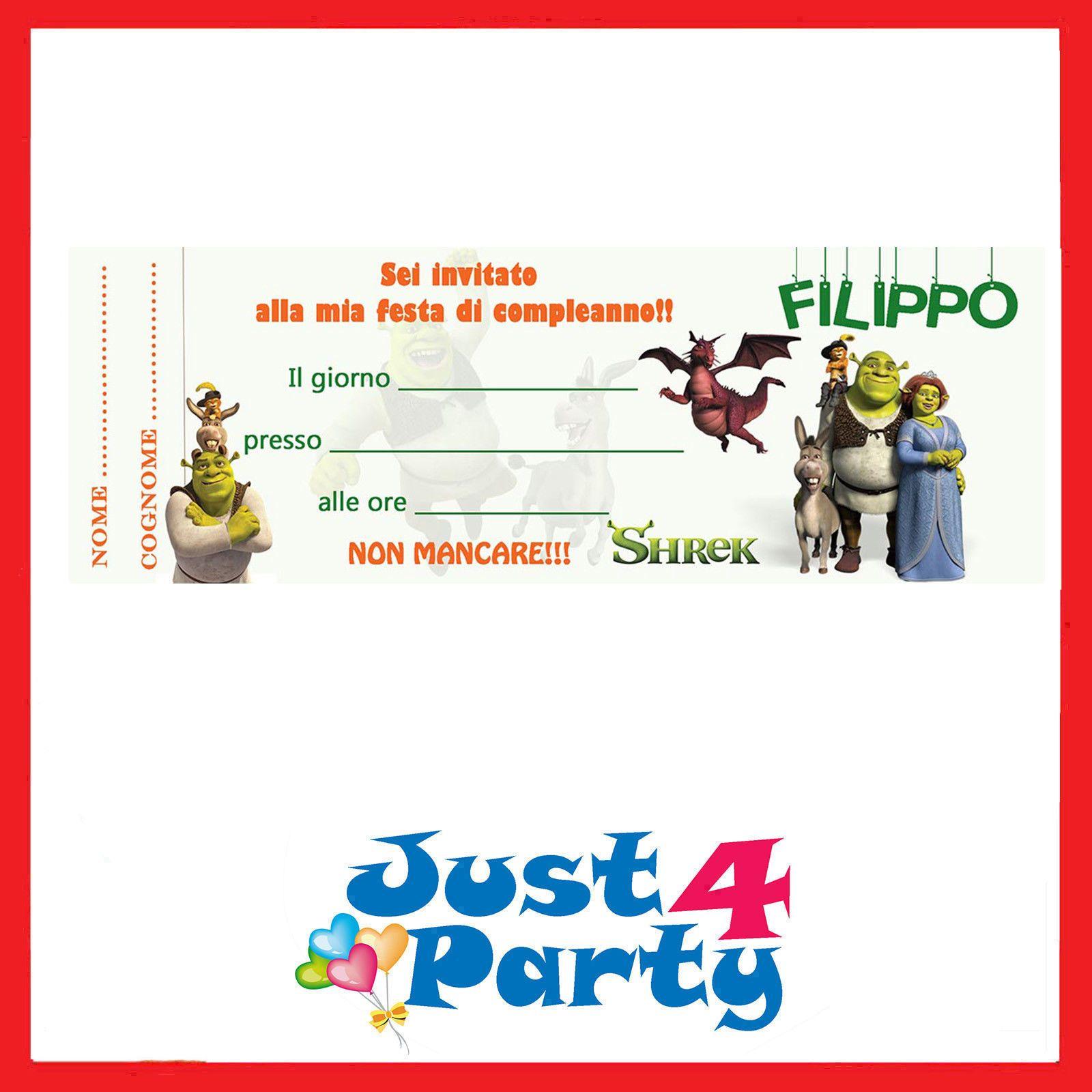 Inviti festa di compleanno SHREK - 30 inviti - da personalizzare | Shrek