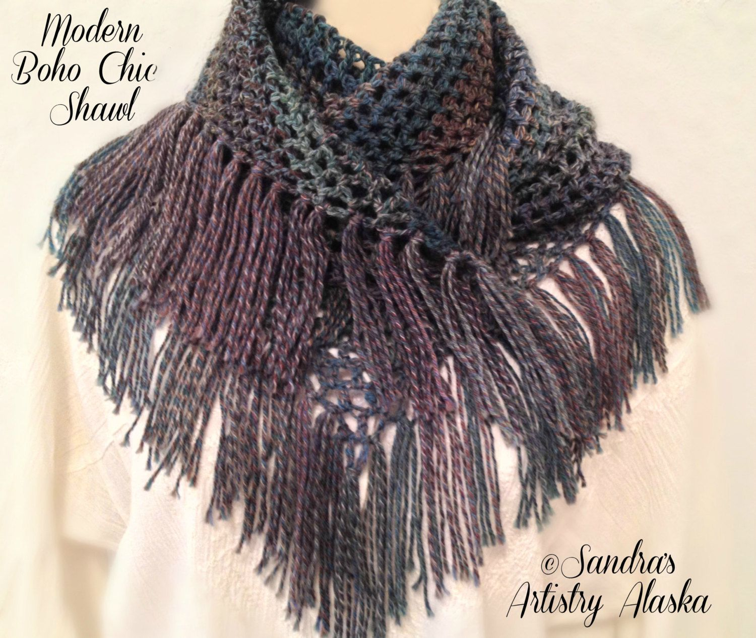 A personal favorite from my Etsy shop https://www.etsy.com/listing/290903849/modern-boho-chic-shawl-large-57l-x-27w