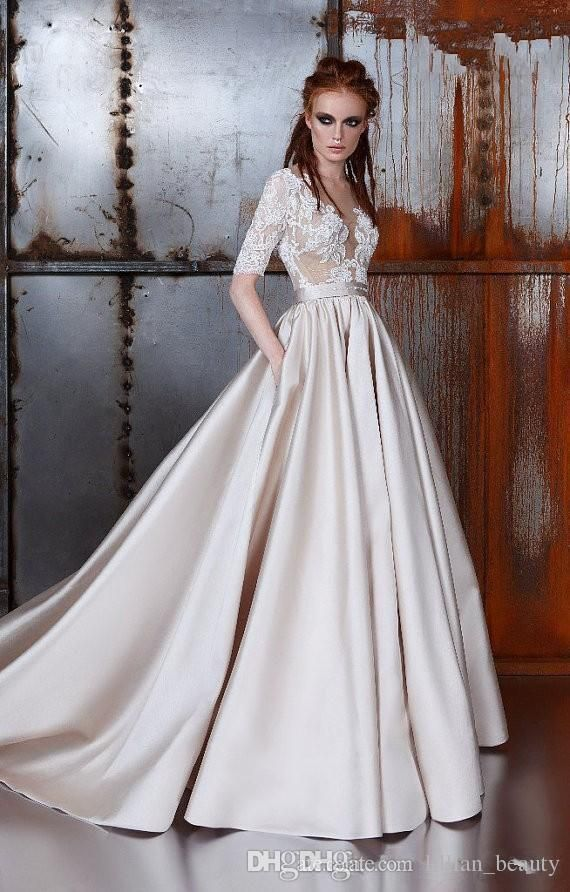364c3b89878d 2017 A Line Lace Wedding Dresses Half Long Sleeve Applique Lace Wedding  Gowns Sweep Train Champagne Satin Bridal Gowns Sheer Back Buttons