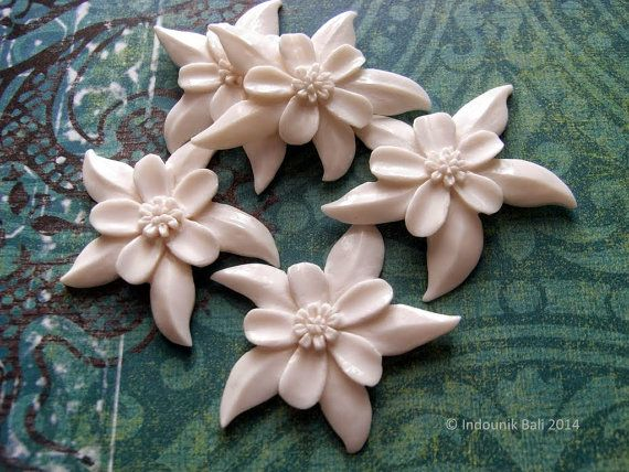Aquilegia - Columbine - Granny's Bonnet Flower Carved Bone Cabochon, approx 35mm, $10.00 from Indounik on Etsy