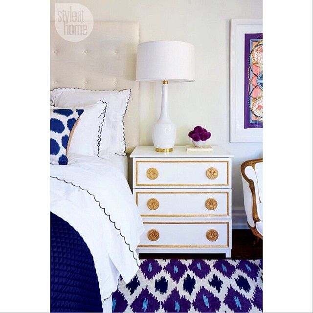 Warm #gold details on this #nightstand compliment the #blue hues in our design…