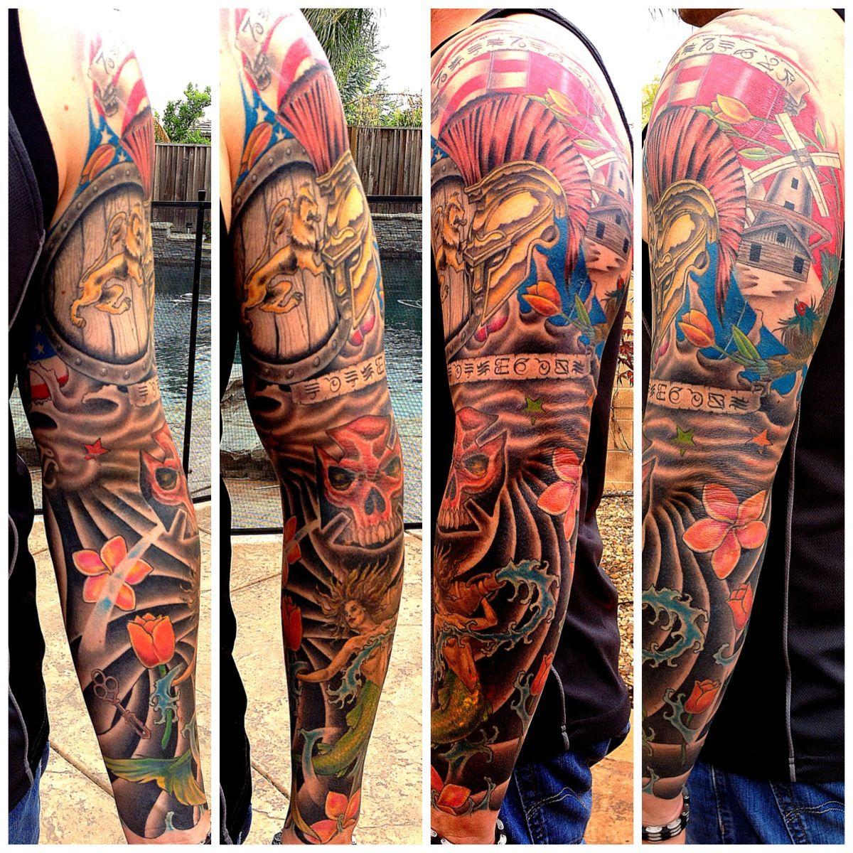 Sleeve Ink Tattoo Arm Color Tattoo Mermaid Saint