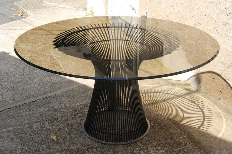 Warren Platner Bronze Dining Table, Reissued | From a unique collection of antique and modern dining room tables at https://www.1stdibs.com/furniture/tables/dining-room-tables/