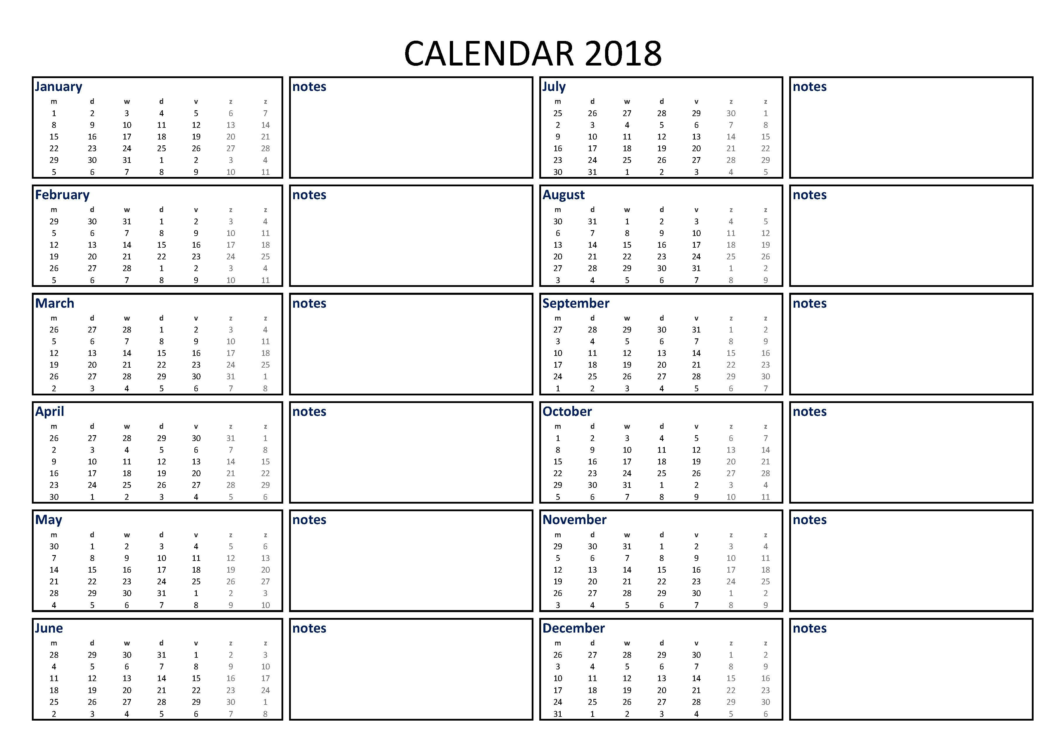 Calendar Excel A3 With Notes