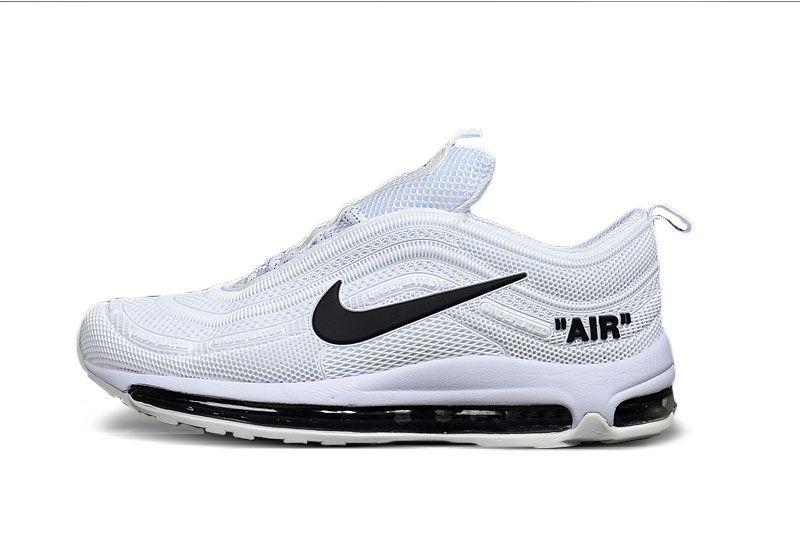 Nike Air Max 97 Discount Pas Cher, Nike Air Max 97 Homme Blanc, Gris, Noir  Chaussures 17ec0af3fa3b