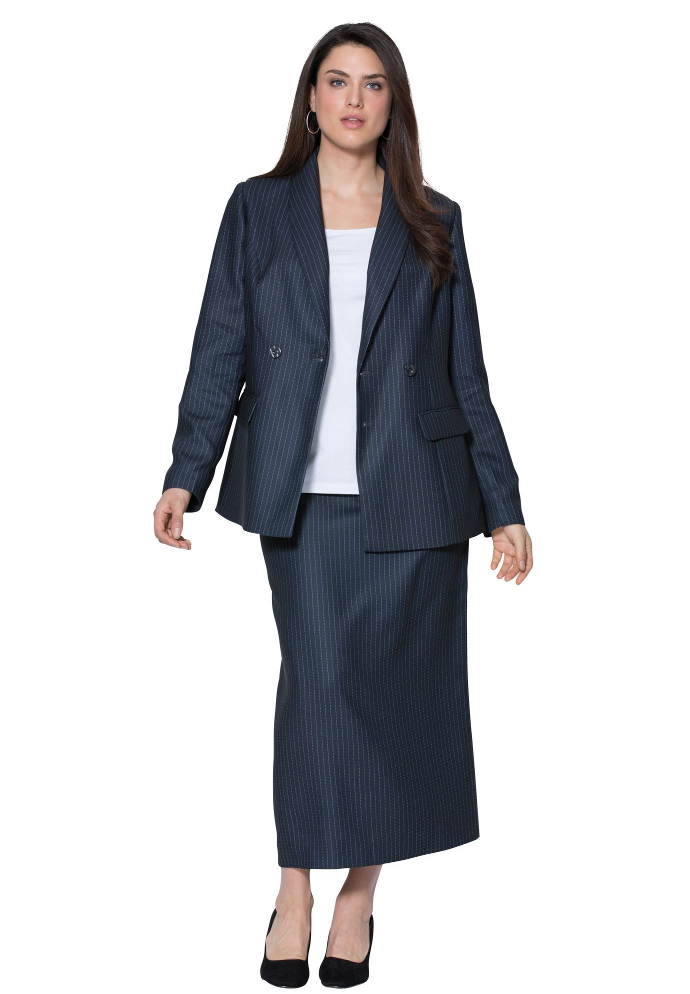 cf11e6975f3 Plus Size Double-Breasted Skirt Suit | women's Clothes | Skirt suit ...