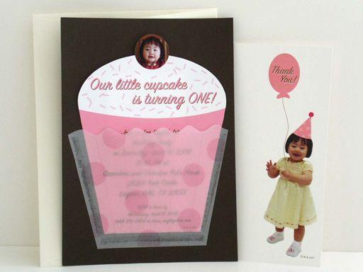 cupcake theme invite Babys 1st Birthday Pinterest Cupcake