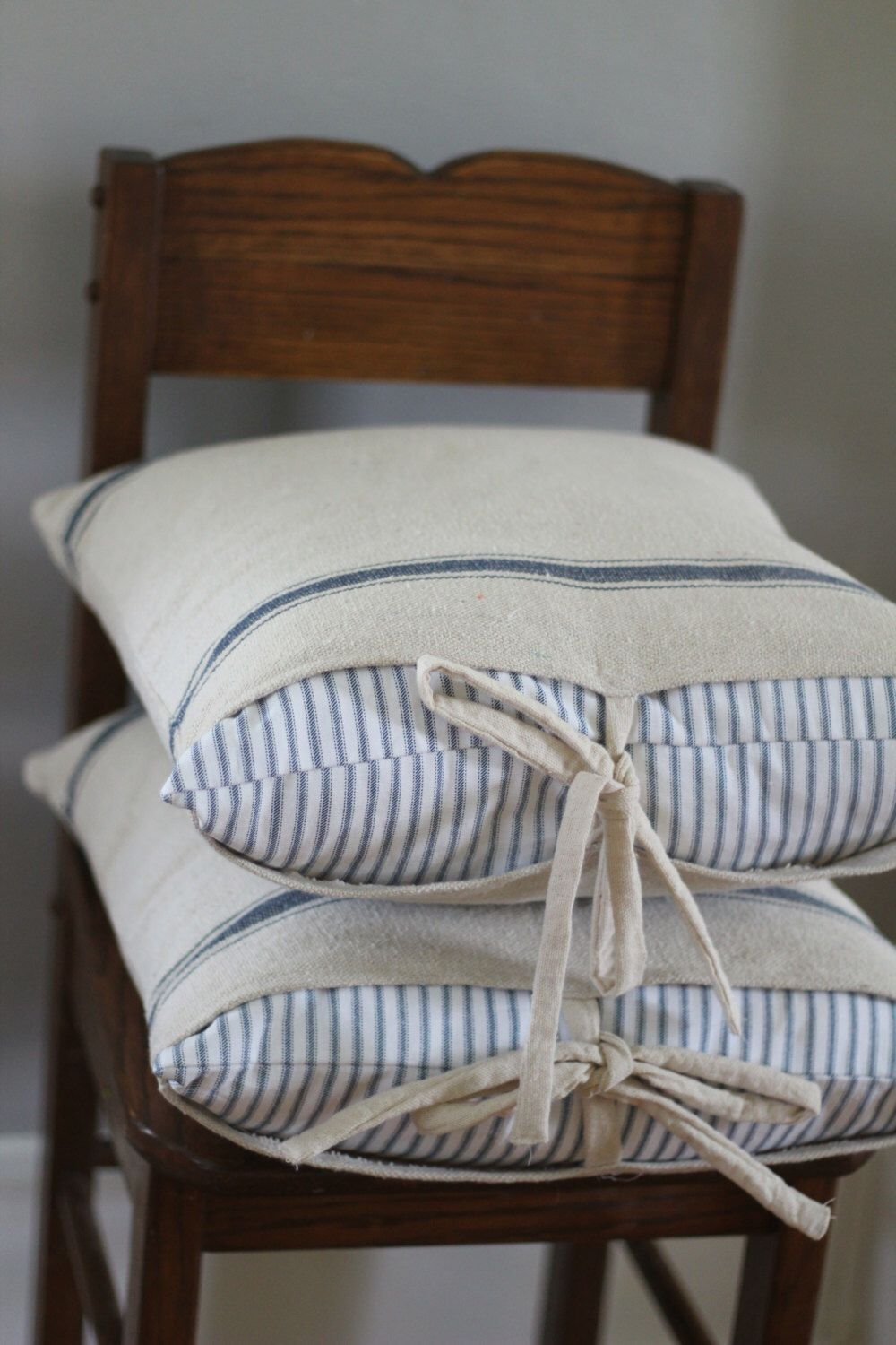 Ticking Stripe and Grain Sack Pillow Cover by