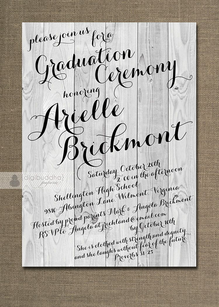 Rustic Graduation Invitation Ceremony Calligraphy Wood Invitation ...