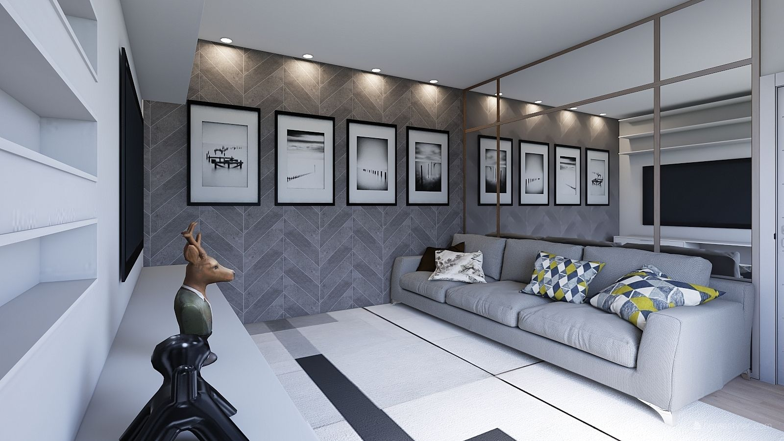 Grey Living Room Design By Geovana Alochio Love How The Mirror