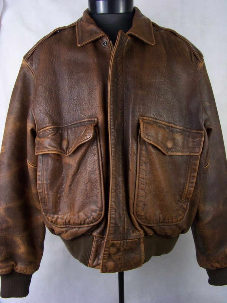 Mirage Brown Leather Bomber Jacket Distressed Mens Size 44 Vintage ...
