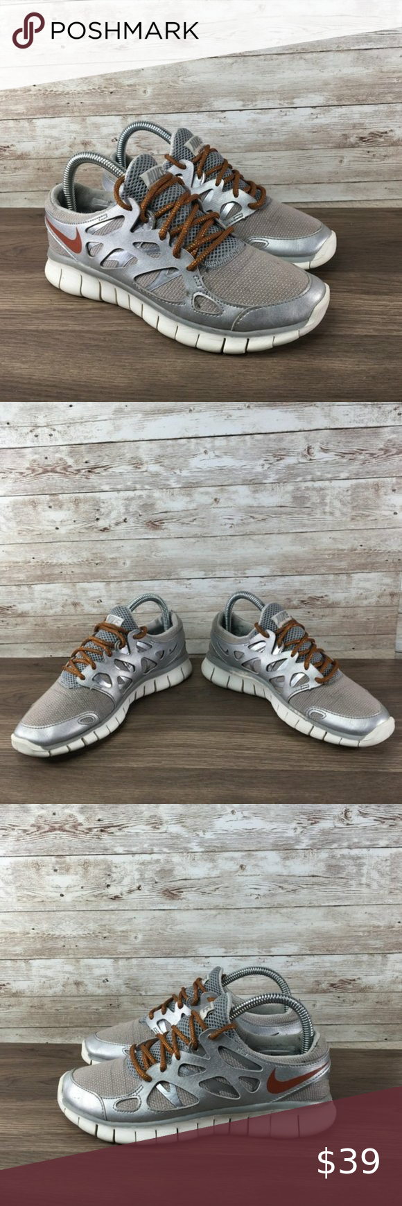 Nike Free Run 2 Womens 6.5 Athletic Silver Bronze Nike Free Run 2 Womens 6.5 Athletic Silver Bronze  Gently used. Smoke free. No box. We always carefully package and box ship immediately. Reach out with any questions!  Women's Size 6.5  Our inventory: 090819-09-R1(012820)  Pair in photos is the exact pair you are purchasing. Make sure to follow us. We post a ton of shoes and offer bundle pricing. Nike Shoes Athletic Shoes