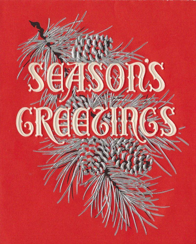 Vtg Christmas Card Word Art Seasons Greetings Typography Font
