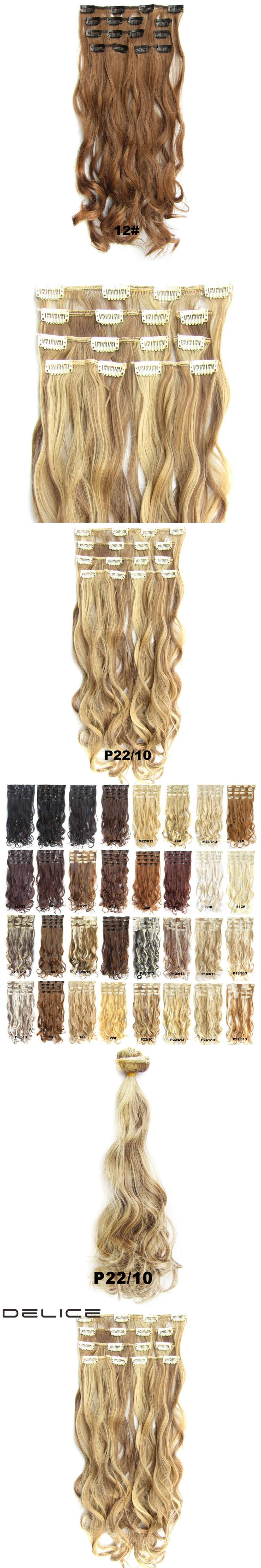 Delice 7pcsset 22inch Clip In Full Head Synthetic Curly Hair