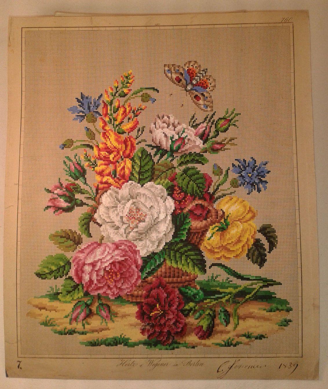 Floral bouquet with butterfly gobelinstickerei pinterest