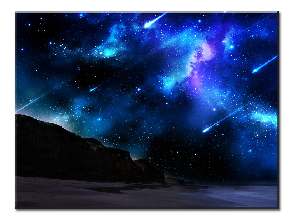 Blue Meteor Shower Canvas Wall Art 1 Panel 24 X 18 Inches
