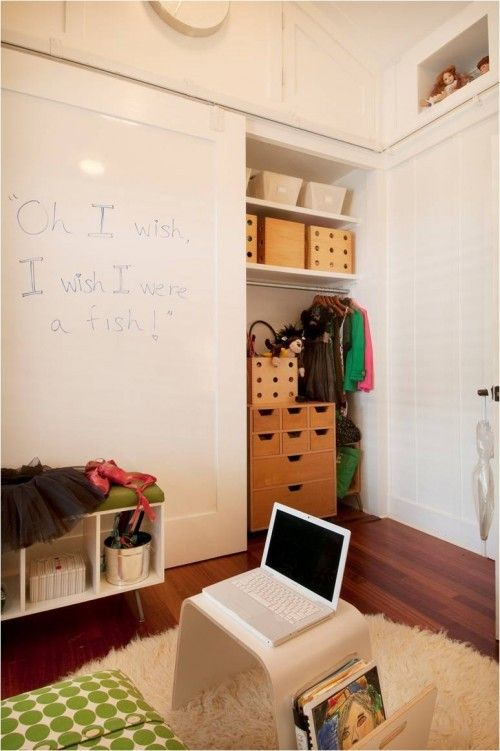 Use The Closet Door As Art Space Chalkboard Paint Magnetic Paint