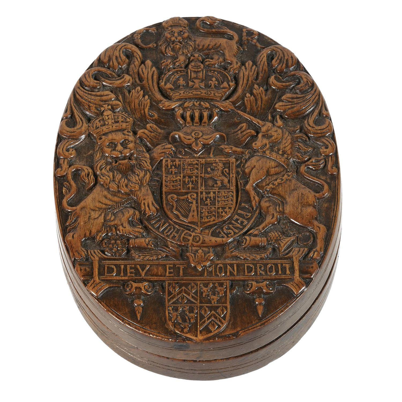 A 1680 Charles II armorial boxwood snuff box