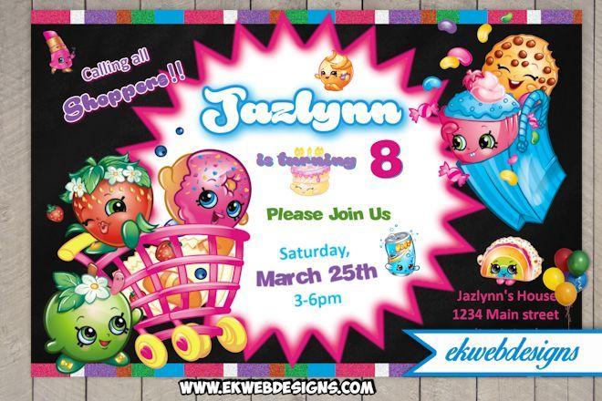 Shopkins Personalized Birthday Invitations