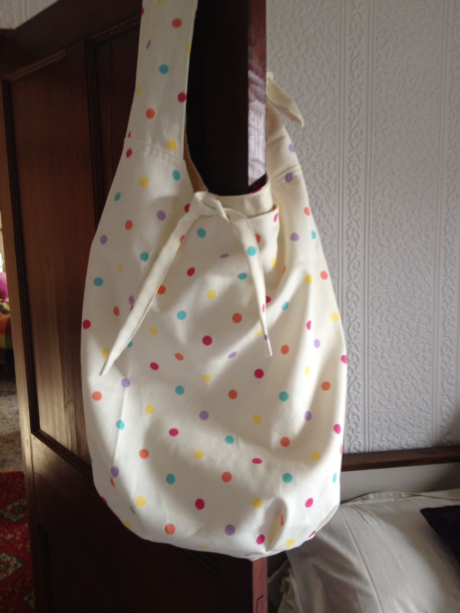 Spotty beach bag, lined.  Also with matching inside pockets. Made by Jillybops x