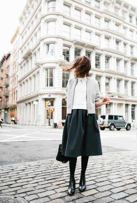 cardigan / t shirt / midi skirt / stockings / heel boots